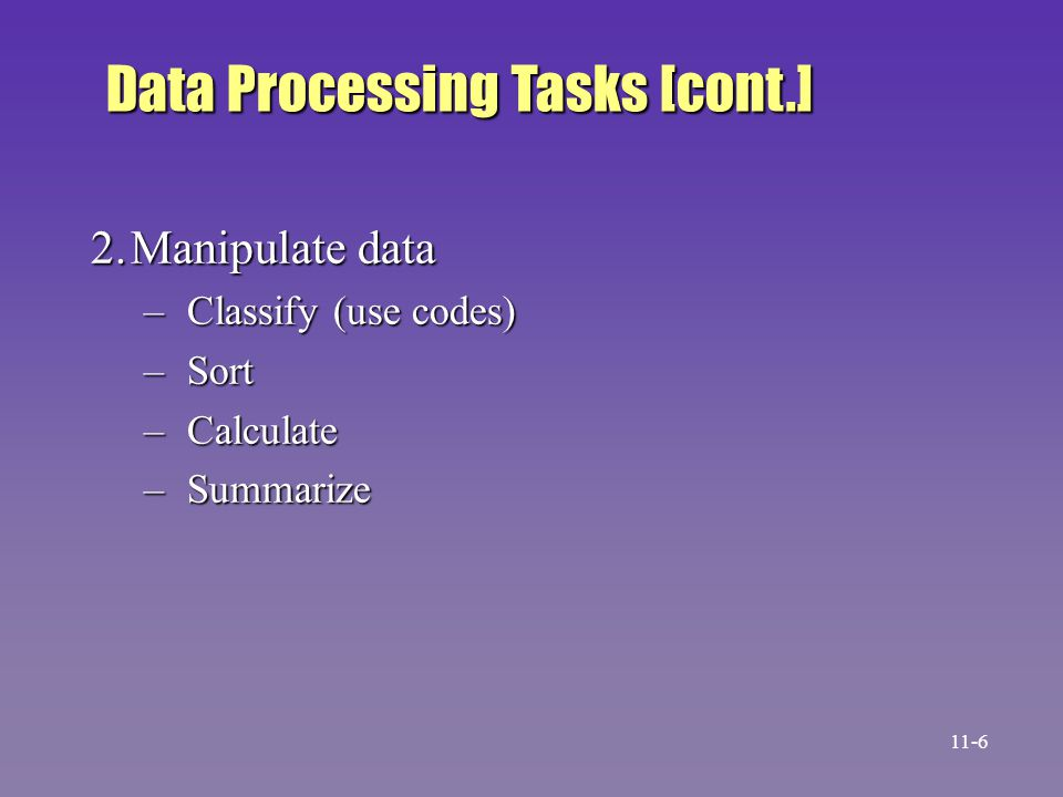 Data Processing Tasks [cont.]